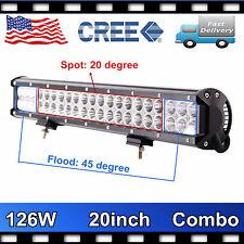 CREE 20'' 126W LED Light Bar Offroad Spot Flood Combo Driving Truck Lamp SUV ATV