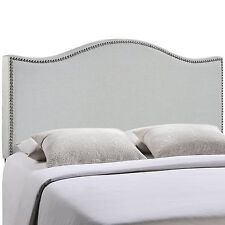 LexMod Curl King Nailhead Upholstered Headboard In Sky Gray 5207-GRY NEW