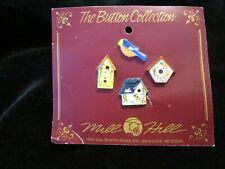 The Button Collection Mill Hill LOT Ceramic Buttons Vintage BIRD BIRDHOUSES 1993