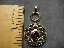 NEW LARGE  SOLID STERLING  CUSHION RHODOLITE GARNET PENDANT 14KT PLATED+RHODIUM