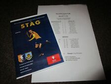 MANSFIELD TOWN  v  BURNLEY  2019/20 F.A.YOUTH CUP ~ JAN 16th 4-PAGE PROG + T/S