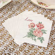 20 PAPER COCKTAIL NAPKINS SERVIETTES Vintage Style Roses Wedding  WITH LOVE
