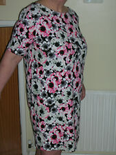 """LADIES BLACK/PINK FLORAL STRETCHY SHIFT DRESS BY GEORGE SIZE 18 L36"""""""