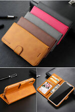 Classic Flip Magnetic PU Leather Wallet Card Pocket Kickstand Case Lot Cover LC