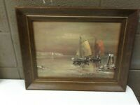 Venturi Vintage Mid Century Ship Print in Wood Frame Nautical Decor 20x16 (b22)