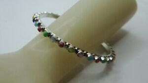 Genuine .925 Sterling Silver Multi-Gemstone Bangle Bracelet 9.8g