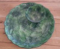 Ceramiche Leonardo Green Leaf Pattern Bowl and Serving Platter Italy