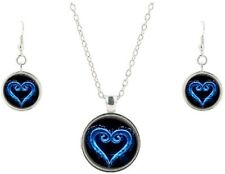 Kingdom Hearts Logo Glass Domed Pendant Necklace, Earring Jewelry Set