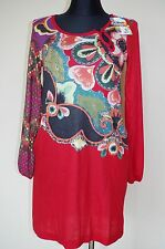 Desigual Sz M Womens Dress Red Tunic Floral Fall Long Sleeve Midi Knee Length