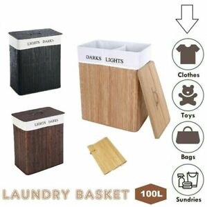 Laundry Hamper Bamboo Basket Clothes Storage Organizer Bag Lid Double OR Single