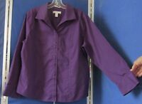 EUC Beautiful CHICO'S Fitted Blouse TUNIC TOP Purple NO-IRON 100% COTTON Sz 2
