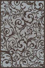 """5x5 Radici Grey Floral Swirls Curls Area Rug Round 1845 - Aprx 5' 3"""" x 5' 3"""""""