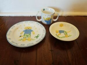 KELLY B. RIGHTSELL BABY FROGS AND SNAILS AND PUPPY DOG TAILS PLATE BOWL CUP