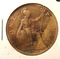 CIRCULATED 1913 1 PENNY UK COIN!