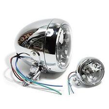4,5 clear glass headlights bullet chrome-diamond cut for harley chopper bike