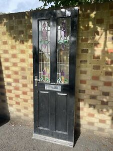 Reclaimed Victorian Wooden Panel Front Door Leaded Stained Glass 1980 x 685mm