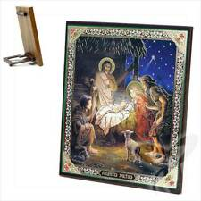 Ikone Geburt Jesu Christi Weihnachten Holz 15 x 18 Рождество Христово икона