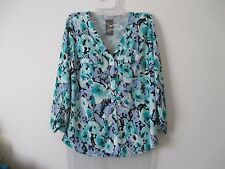 Womens S Covington Blue Teal Floral Button Front Top Ruched Sleeves Stretch Knit