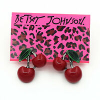 Women's Red Resin Enamel Cherry Ear Stud Betsey Johnson Earrings Sweet Gift
