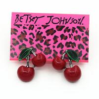 Women's Red Resin Enamel Cherry Ear Stud Betsey Johnson Earrings Sweet Gift