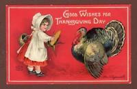 1909 ELLEN CLAPSADDLE*GOOD WISHES FOR THANKSGIVING DAY*EMBOSSED*GIRL*TURKEY*CORN