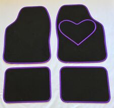 BLACK CAR MATS WITH PURPLE HEART HEEL PAD FOR VAUXHALL VECTRA ZAFIRA MOKKA VIVA