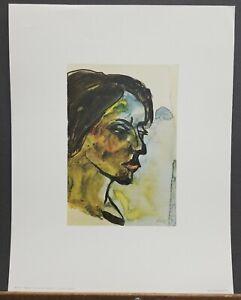 """Emil Nolde Vintage Print """"Portrait of a Young Girl"""" 1960's 18""""×14"""" Penn Prints"""