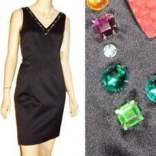 NEW Snazzy CHETTA B Little Black Satin Dress w BIG BOLD COLORFUL JEWELS 2 Formal