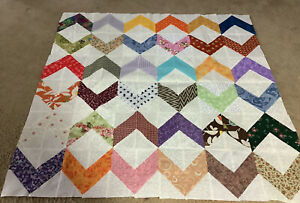 """Unfinished Quilt Top-Scrappy Zig Zag Pattern, 35.5""""Square"""