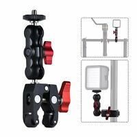 """1/4""""&3/8"""" Screw Magic Arm Super Ball Mount Clamp For GPS Monitor LED Video Light"""