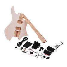 Unvollendete DIY E-Gitarren Kit Basswood Körper Ahorn Holz Griffbrett Teil Q2T7