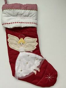 POTTERY BARN KIDS RED QUILTED CHRISTMAS STOCKING ANGEL *VIVIENNE* NEW BLONDE
