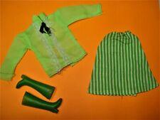 Vtg Barbie 80s Doll Clothes NEON GREEN Skirt Set No Label