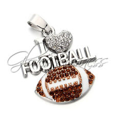 30x37mm American Football I Love Football Charm Pendant For Bubblegum Necklace