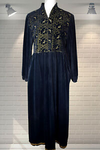 Vintage 1980s Black Velour Housecoat Dressing Gown - St Michael - Small/Medium