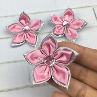 DIY 10-100PCS Satin Ribbon Flower Crystal Bead Appliques Wedding Decoration @20