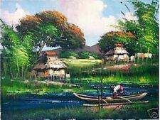 Nipa Hut & Fishing Boat Art Philippines Oil Painting