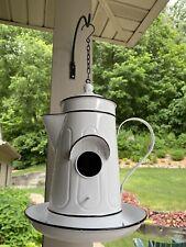 White Enamelware Bird House Teapot Coffee Farmhouse Primitive Decor Black Rim
