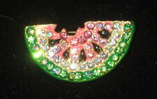 Watermelon Pin Crystals Seeds Gold Tone Pink Green New Fruit