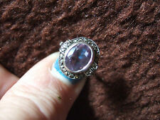 SUPERB AMETHYST RING IN SILVER MARCASITE SURROUND IN EXCEL COND**REDUCED**