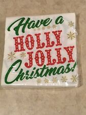 """Christmas Beverage Napkins 10""""x10"""" 2 Ply, 24 Count Holly Jolly Christmas Sealed"""