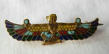 Antique or vintage egyptian revival small brass & enamel brooch winged female