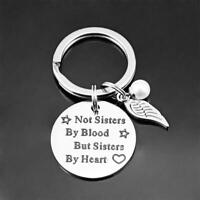 For Her Bag Pendant Not Sisters by Blood Pearl Wing Key Chain Letter Keyring