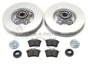 PEUGEOT 3008 REAR BRAKE DISCS AND PADS + FITTED WHEEL BEARINGS ABS RING NEW SET
