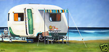 surfing beach camping caravan art painting street COA authentic andy baker print
