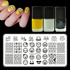 Emoticon Nail Stamping Tool Set Template Plate 3-colors Stamping Polish Kit