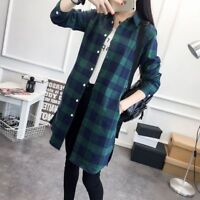 Long Women Flannel Plaid Shirts Female Casual Loose Long Sleeve Jacket Blouse