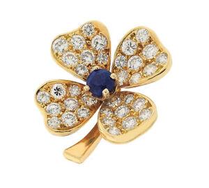 1.16ct Rund Diamant Saphir 14K Massiv Gelbgold Hochzeitstag Brosche