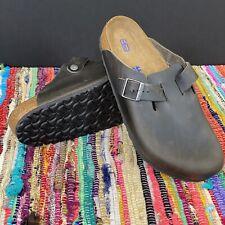 Birkenstock Mens Clog Original Boston Soft Footbed Grey Iron Oil Leather Mens 11