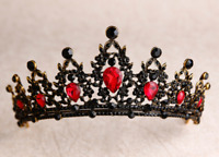 Women Black Red crystal Witch Halloween Queen Party Hair Headband Crown Tiara
